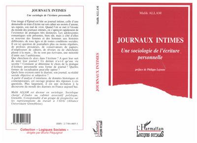 JOURNAUX INTIMES . UNE SOCIOLOGIE DE L'ECRITURE PERSON