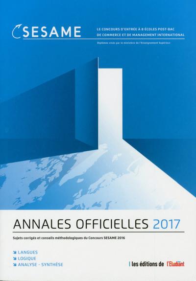 ANNALES OFFICIELLES 2017 CONCOURS SESAME