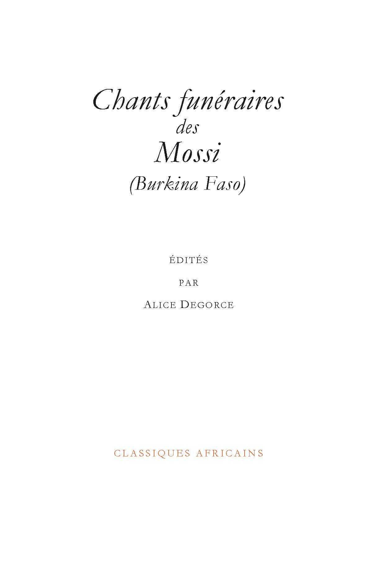 CHANTS FUNERAIRES DES MOSSI (BURKINA FASO)