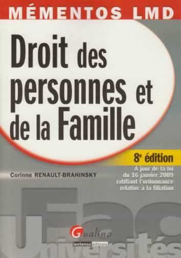 MEMENTO- DROIT DES PERSONNES ET DE LA FAMILLE, 8 EME EDITION