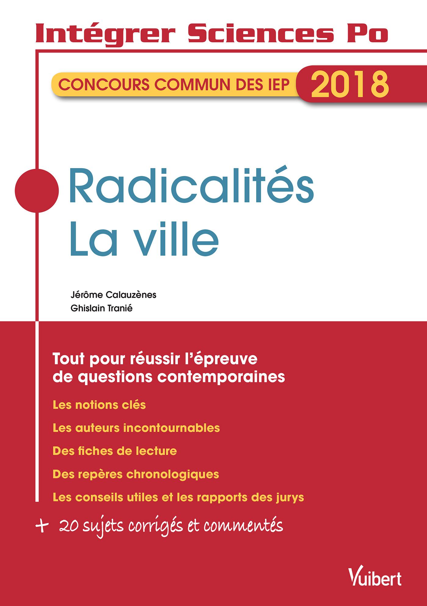 RADICALITES LA VILLE INT SC PO QUESTIONS CONTEMP IEP 2018