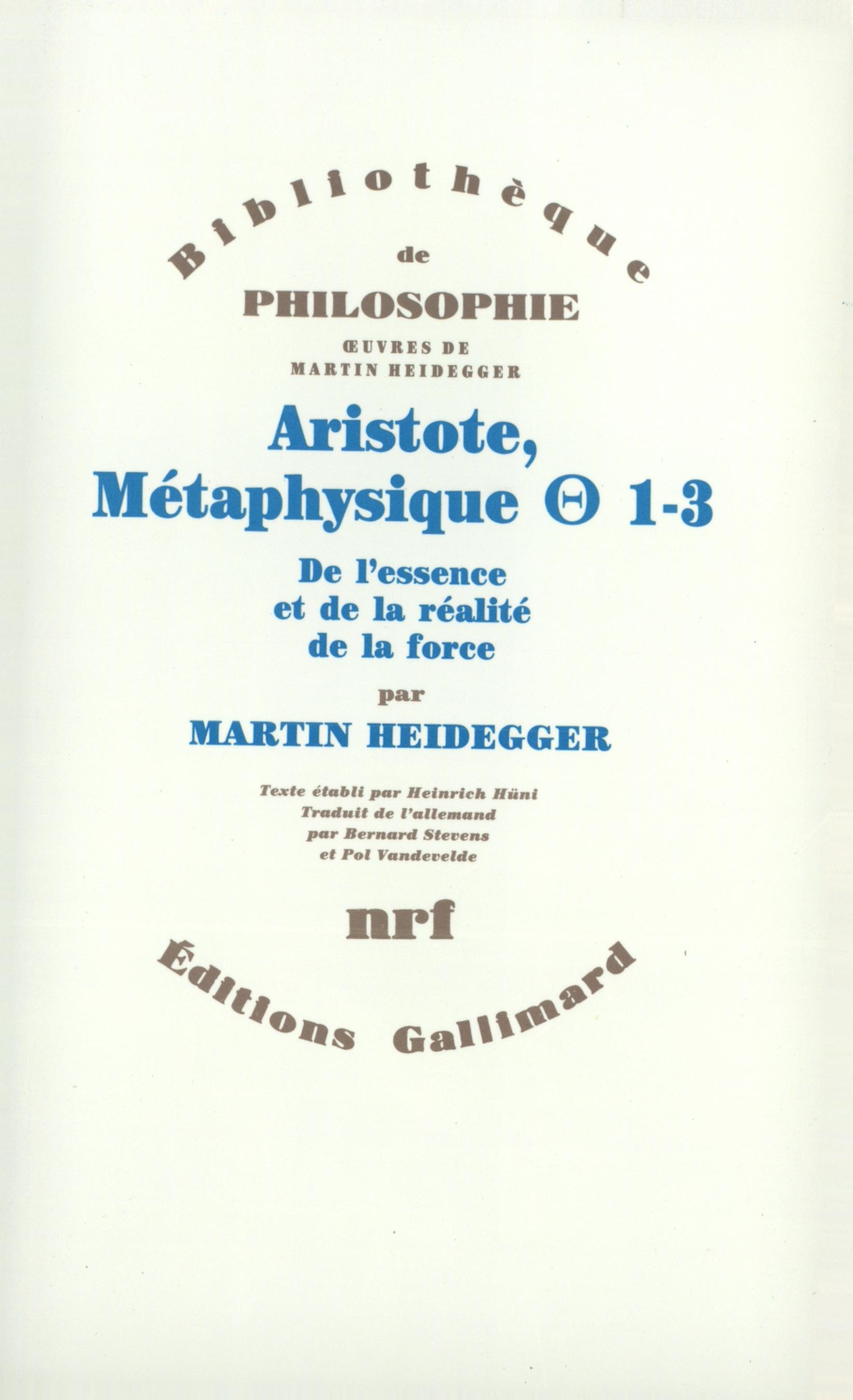ARISTOTE, METAPHYSIQUE [THETA] 1-3