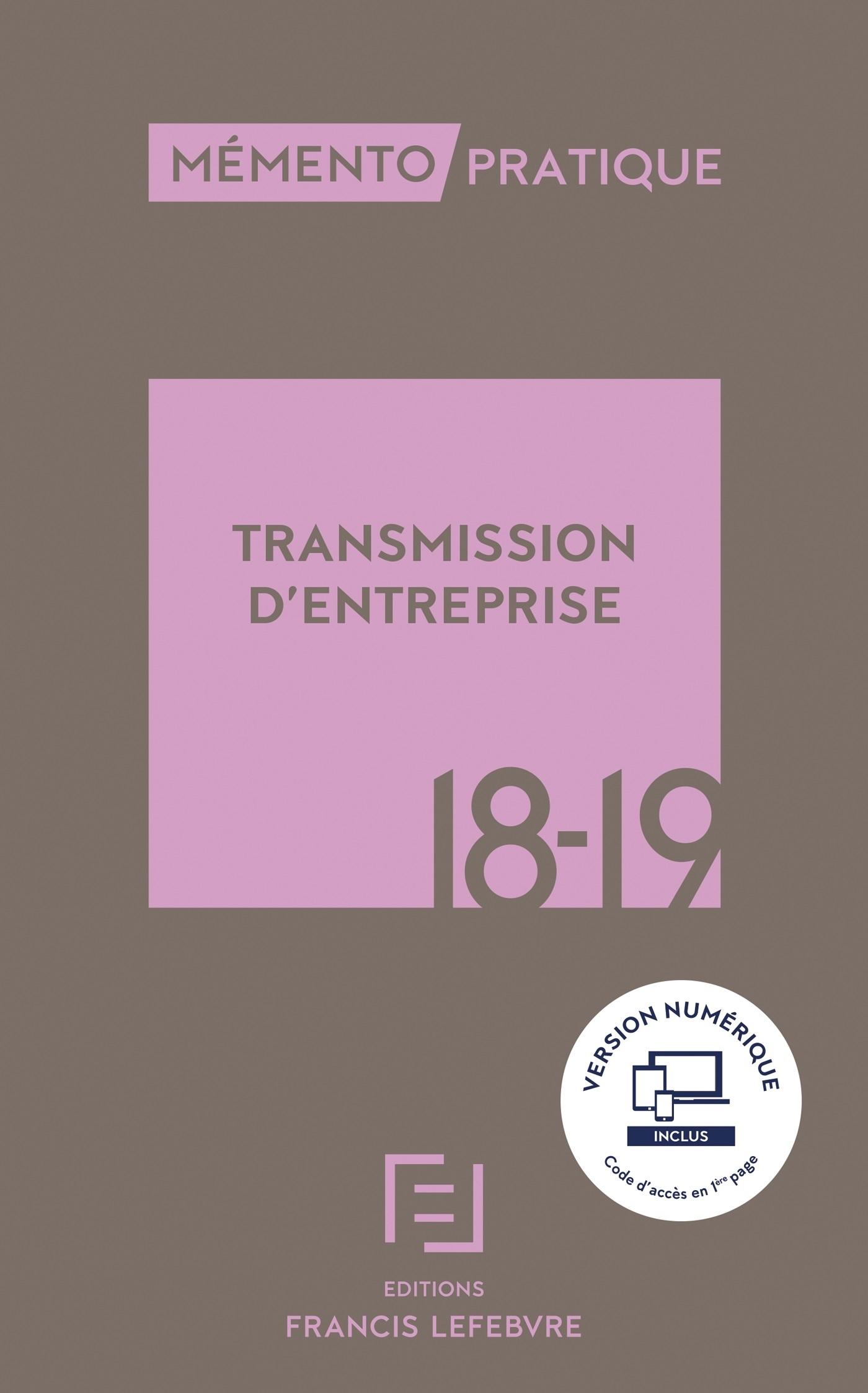 MEMENTO TRANSMISSION D'ENTREPRISE 2018