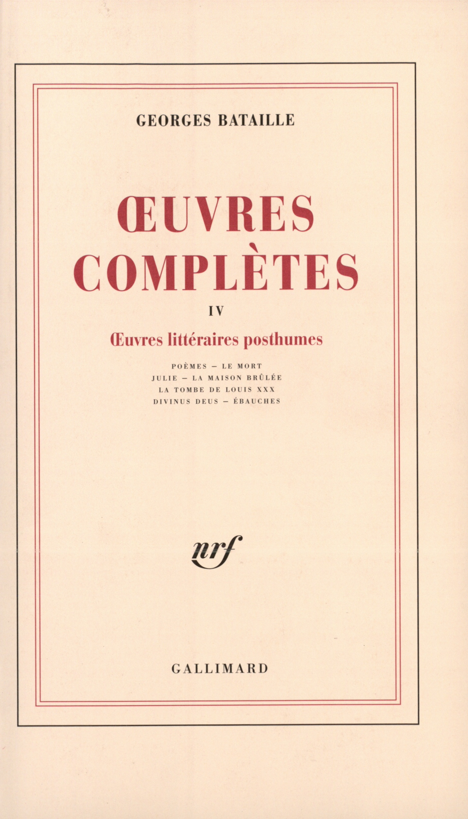 OEUVRES COMPLETES (TOME 4)