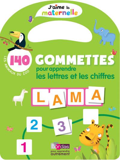 J'AIME LA MATERNELLE - 140 GOMMETTES POUR APPRENDRE LES LETTRES ET LES CHIFFRES LES ANIMAUX DU ZOO