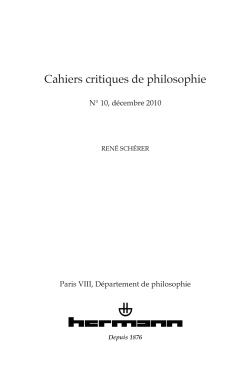 CAHIERS CRITIQUES DE PHILOSOPHIE, N  10 - RENE SCHERER