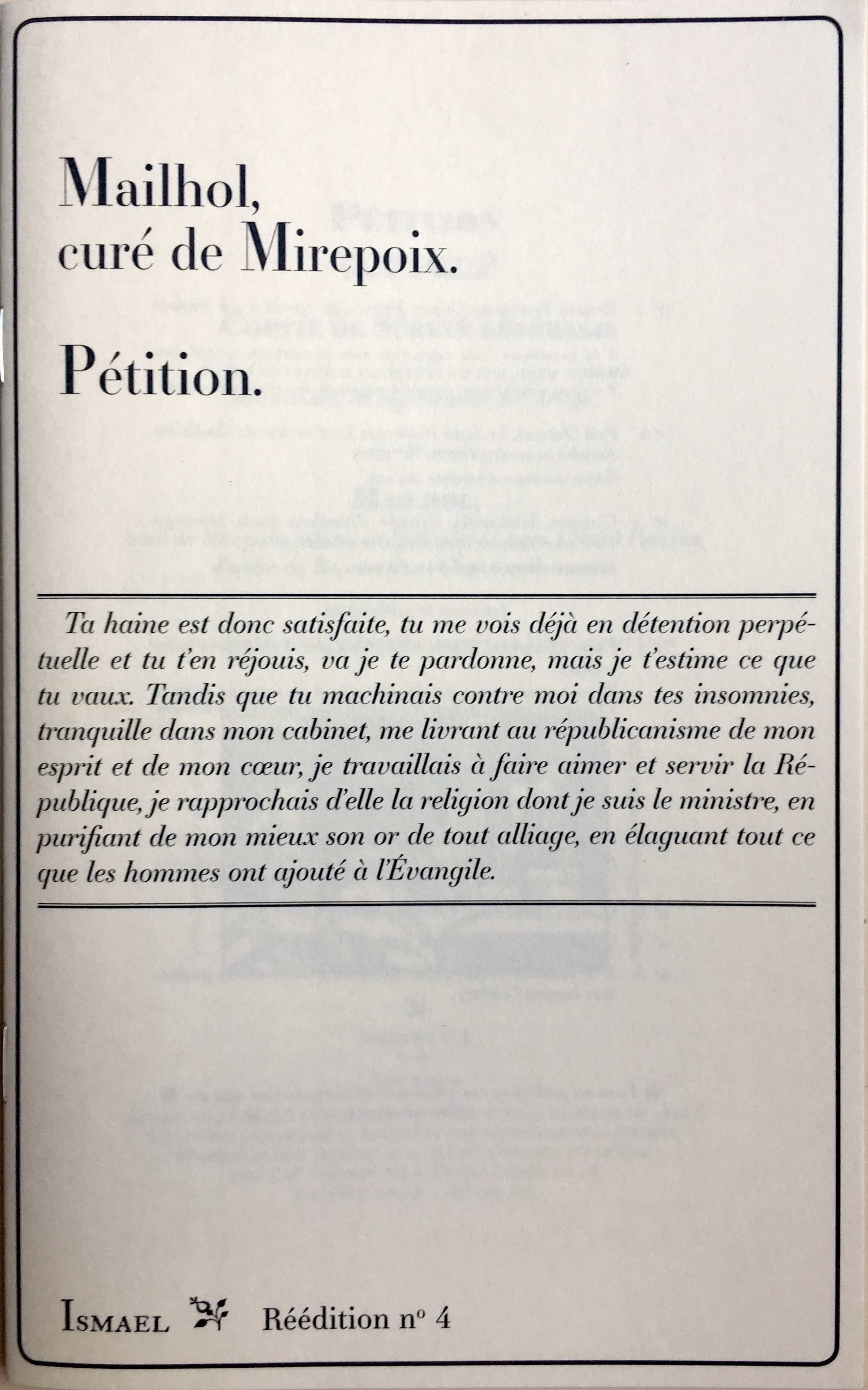 PETITION DE JEAN PIERRE MAILHOL, CURE DE MIREPOIX