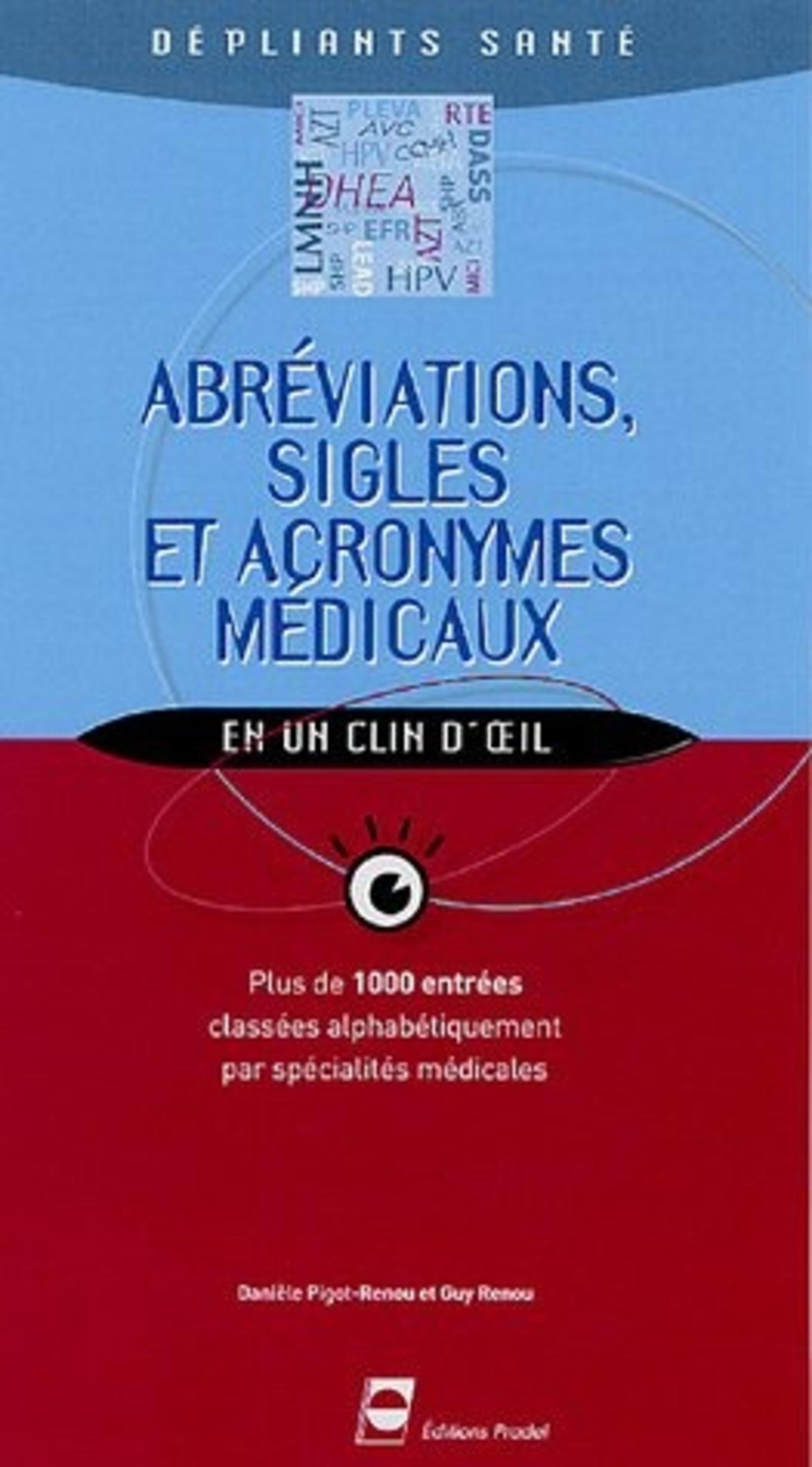 ABREVIATIONS SIGLES ET ACRONYMES MEDICAUX DEPLIANT SANTE