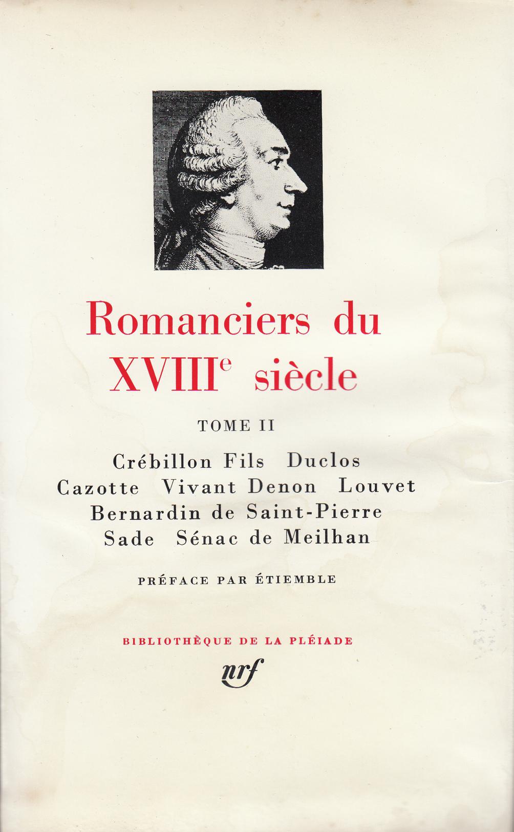 ROMANCIERS DU XVIIIE SIECLE T2