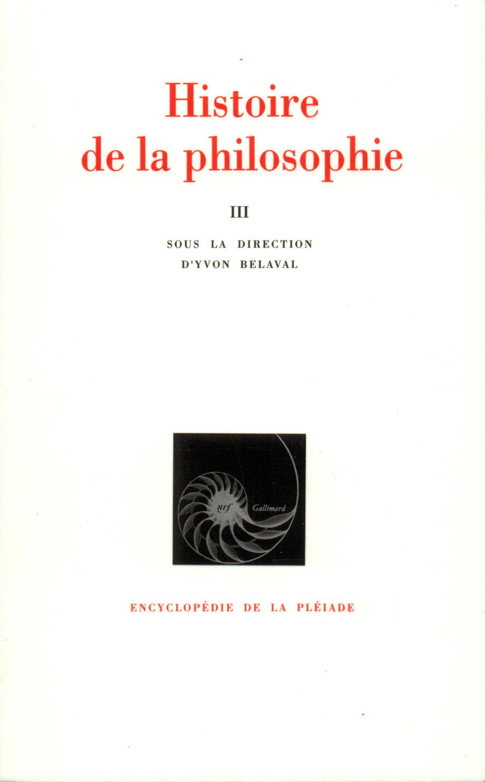 HISTOIRE DE LA PHILOSOPHIE T3
